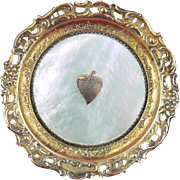Round Visiting Card Tray, English c1840, Mother of Pearl Shell and Gilt