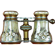 Tiffany & Co Decorative Mother Of Pearl Opera Glass Binoculars c1890