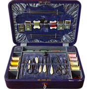c1890 Large English Boxed Sewing or Needlework Set