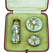 Marcel Franck Boxed Vanity Set - Mother of Pearl Perfume, Compact, Rouge Pot PRICE REDUCTION