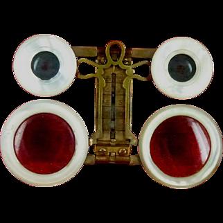 VERY RARE Jumelles Mars Folding Mother Of Pearl Opera Glasses