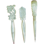 3 Mother of Pearl Shell Sewing Stiletto or Awl, England c1850-70 PRICE REDUCTION