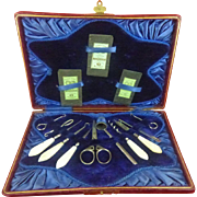 Boxed English Mother of Pearl handled sewing set Blue trim c1850