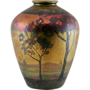 "Weller Lasa 9"" Scenic Trees Landscape Decorated Vase by John Lessell In Spectacular Pearlized Rainbow Lustre Glazes Mint"