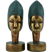"Marion Bronze 8.75""  Bookends African Priestess in Polychrome Finish #914 4.75 Lbs. Beautiful!"