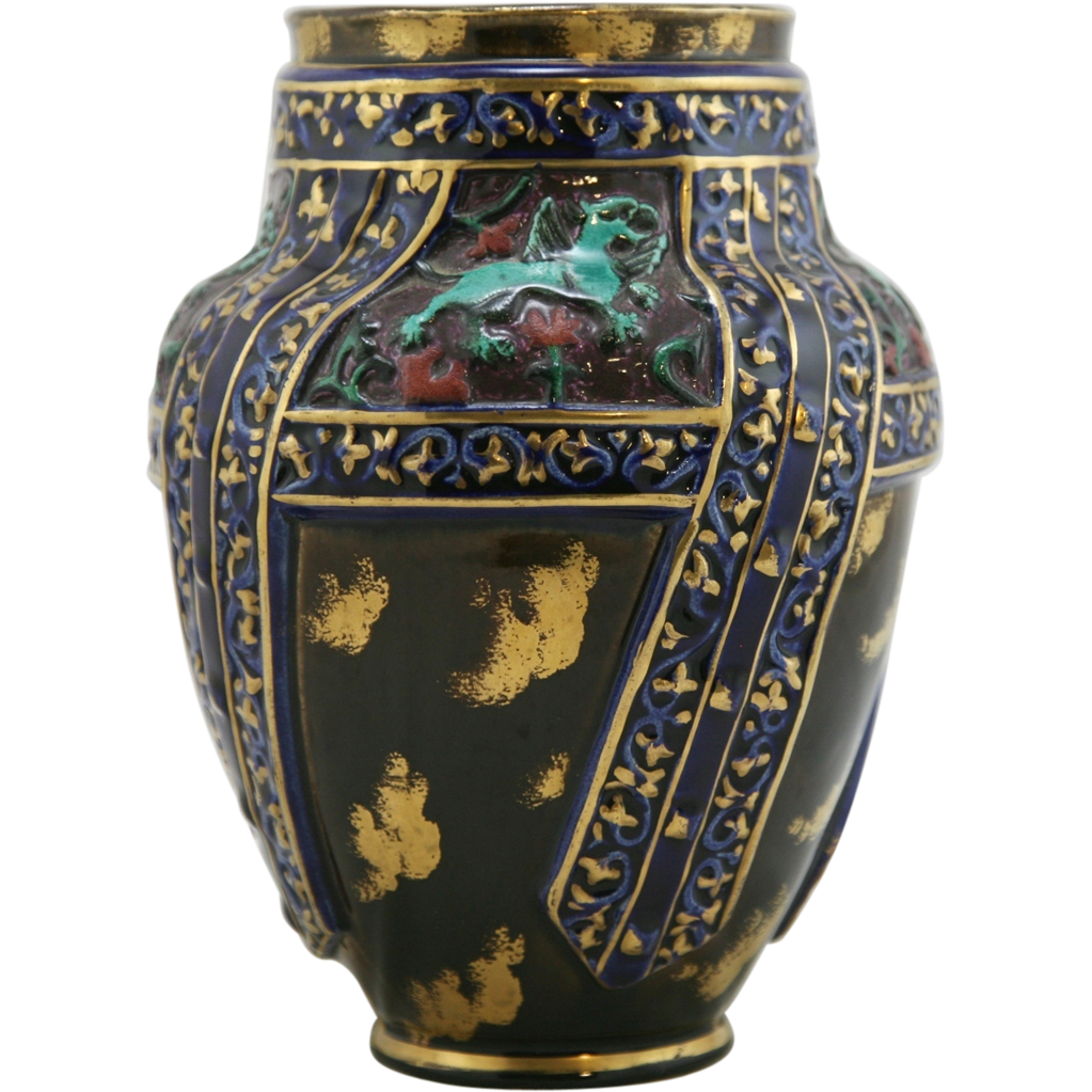 faience hippolyte boulenger choisy le roi 9 25 quot vase w griffins from patspots on ruby