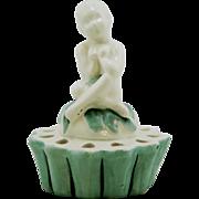 """Fulper 5.75"""" 'Pan' Mythological Flower Frog In White/Green Glazes Factory Mint"""