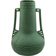 "Hampshire 15.5"" Arts & Crafts Vase In Rich Matte Green with Handsome Reticulated Handles"