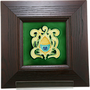 "Ceramiques De Hemixem 12"" Framed Tile (6"") Belgium 1890-1910 Art Nouveau Motif"