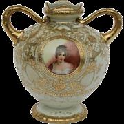 "Nippon 7"" Portrait Vase of Madame Juliette Recamier with Gilt Beading/Ribbon Trim Mint - Red Tag Sale Item"