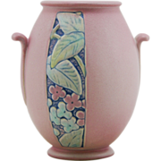 "Weller Velva 6"" Arts & Crafts Vase In Rare Pink Trial Glaze with Sweet Blossoms"