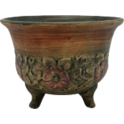 """Weller Flemish/Woodcraft 5,25"""" x 6.5"""" Footed Bowl With Red Rosettes Mint"""