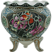 """Nippon Moriage 5"""" x 5"""" Footed Rose Bowl Gorgeous Blossoms Ornate Moriage Accents MINT"""