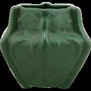 """Weller Matte Green 4"""" Arts & Crafts 6-Sided Vessel W/Butterflies Lush Glaze Mint"""