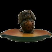 "Peter Ipsen 3.5"" x 6.25"" x 6"" Pekingese Ashtray Orange/Brown Glazes 1843-1955 Mint"