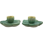 "Weller Pumila Ware 2"" x 4.5"" Candlestems With Waterlily Blossoms Gorgeous Mint"