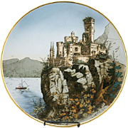 "Mettlach 17.5"" Wall Charger ""Castle On Cliff, Stolzenfels"" Dated 1911 #2196 Gilt Trim"