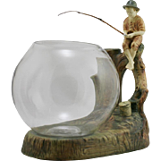 """Weller Woodcraft Fisherboy 12"""" x 10"""" x 6"""" Fish Bowl Stand With Glass Fishbowl Mint"""