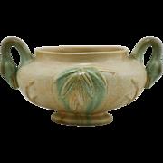 "Weller Patricia 5.5"" x 10"" Urn/Bowl With Swans' Heads Handles Crystalline Glaze Mint"
