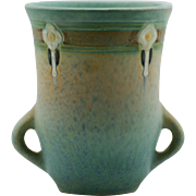 "Roseville Montacello 5.25"" Vase With Arts & Crafts Blossoms Shape 558 In Blue/Green Frosted Glazes - Red Tag Sale Item"
