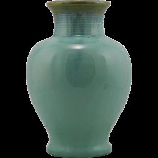 "Fulper 9.25"" Arts & Crafts Vase 1922-1928 In Light Green/Blue/Amber Flambe Glazes Factory Mint"