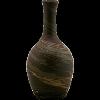 "Evans Pottery Mission Swirl 8.25"" Vase In Natural Mocha/Brown/Terra Cotta Mint"