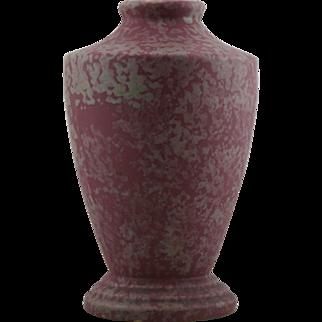 """Burley Winter 12"""" Vase Shape #8 in Mottled Raspberry/Lavender Glazes Art Deco Design Mint"""