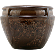 "Weller Colored Glaze 7.25"" x 9"" Buttressed Jardiniere In Vineyard Motif Mint"