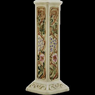 "Weller Roma Creamware 6.25"" x 2"" Square Bud Vase W/Blossom/Fruit/Leaves Very Pretty Mint"