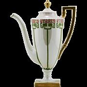 "Lenox Belleek 10"" Teapot With an Arts & Crafts Stylized Decoration & Gilt Trim Stunning!"
