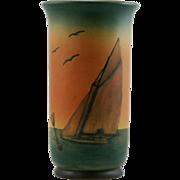 "Ipsen 8.5"" Danish Vase With Sailboat Seascape Rustic Orange/Brown Glazes 1843-1955"