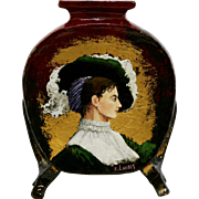 """French Faience Pottery 10"""" 'Portrait of a Lady' Pillow Vase by Artist E. Landry c1880s"""