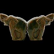 "Fulper 5.25"" x 5"" Elephant Bookends In Art Deco Style Honey Amber/Chocolate/Blue Flambe Glazes Factory Mint F53"
