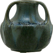 "Denbac French Pottery 3-Handled Vase 3.5"" x 3.5"" In Blue/Green Crystalline Drip Glazes D227"