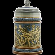 """Mettlach 6.75"""" Etched Stein Cherubs Carousing #2025 D1897 Cherub Inlaid Lid Mint"""