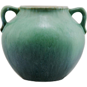 "Roseville Earlam 7.25"" Handled Vase #521-7 In Blue/Green/Cinnamon Glazes Mint"