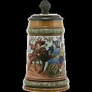 """Mettlach 7.25"""" Stein Dated 1890 """"Men Drinking"""" By Christian Warth 1/2 Liter #1527 Inlaid Lid"""