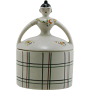"Fulper Porcelain 6.5"" Art Deco Novelty Lady Powderbox/Candyjar Deco Style Mint"