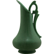 "Hampshire 8"" Ewer W/Handsome Twig/Leafy Handle In Rich Matte Green Glaze Mint"