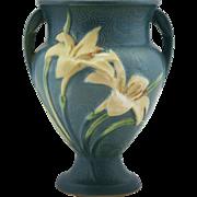 "Roseville Zephyr Lily 8.5"" Vase In Gorgeous Bermuda Blue Glaze 202-8"
