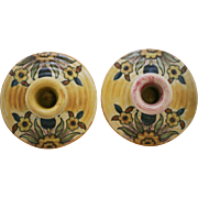"Weller Barcelona 2"" x 5"" Candlestick Set Moorish Design Vivid Glaze Colors Mint"