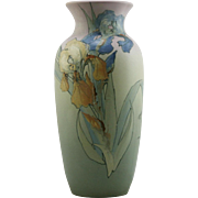 """Weller Hudson 15.5"""" Vase With Bearded Irises By Miss Sara Timberlake Spectacular Colors!"""