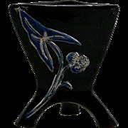 "Weller Tutone 4.25"" Triangle Vase In Black/Cobalt/Silver Arrowhead Leaf/Blossom"