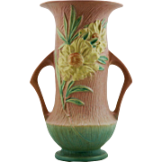 """Roseville Peony 14.5"""" Floor Vase In Pink And Green #68-14 Great Mold & Color!"""