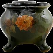 "Lonhuda Faience 4"" x 4.25"" Standard Glaze Footed Trefoil Vase With Orange Blossoms by Elizabeth Ayers"