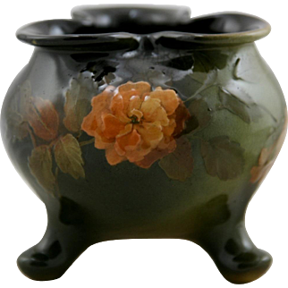 "Lonhuda Faience 4"" x 4.25"" Standard Glaze Footed Trefoil Vase With Orange Blossoms by Elizabeth Ayers"