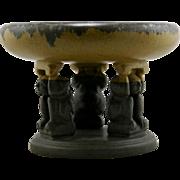 "Fulper 8"" x 10.5"" Effigy Bowl In Mocha Brown and Mustard Matte/Flambe Glazes Mint F19"