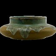 """Fulper 4"""" x 10"""" Squat Urn/Vase In Flowing Greens/Mustard Matte Glazes Mint F20"""
