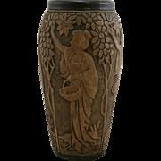 "Rare Weller Dechiwo 12"" Vase With Women Picking Apples"