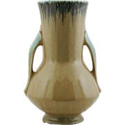 "Roseville Orian 8.25"" Trial Glaze Vase #736-8 In Tan Crystalline Frosted Glazes"